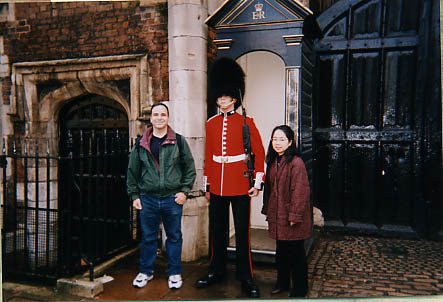 In front of the guard